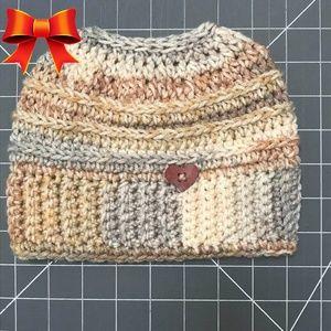 Crochet Messy Bun Ponytail Beanie Hat Knit